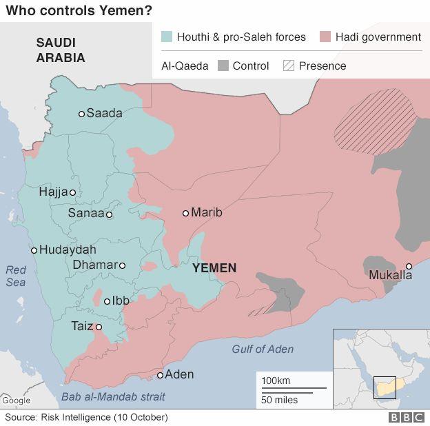 Map of control of Yemen (10 October 2016)
