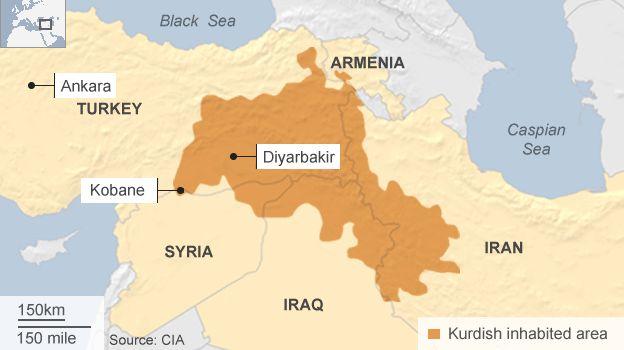 Kurdish-inhabited region - map