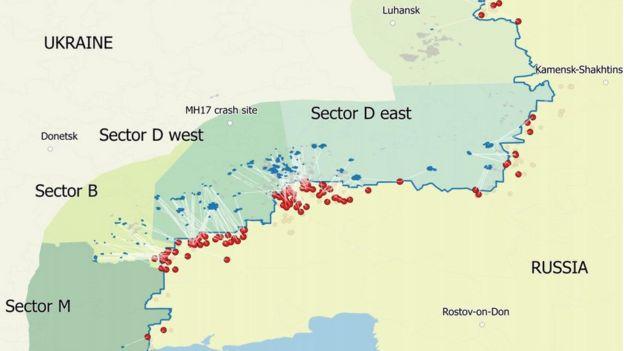 Карта обстрілів, опублікована у доповіді Bellingcat