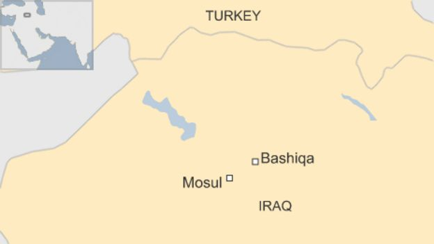 A map showing Bashiqa and Mosul in Iraq