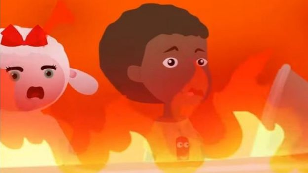 Photo of copied cartoon showing a boy and a sheep amid flames