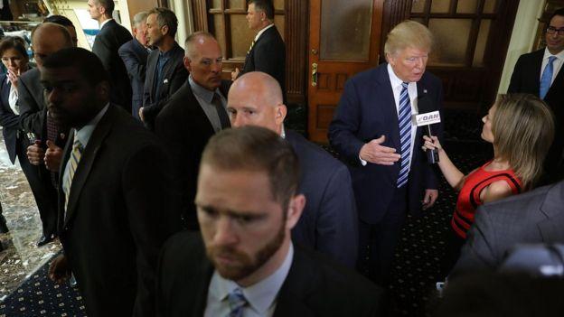 Los agentes del Servicio Secreto acompañaron a Donald Trump en toda la campaña por la presidencia.