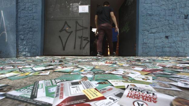 Centro de votación en Sao Paulo.