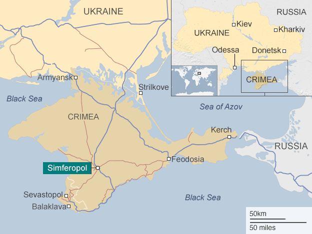 Карта, що показує Крим і Сімферополь