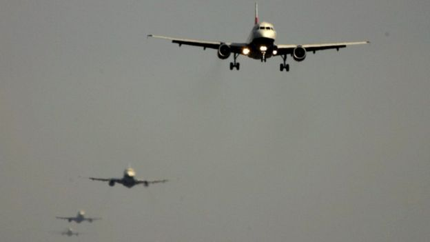 Planes queuing to land at Heathrow