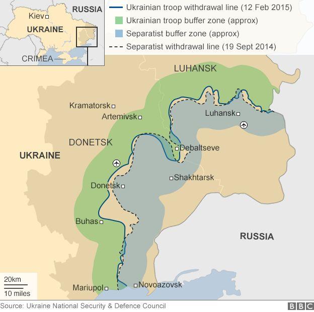 Carte montrant lignes de cessez-