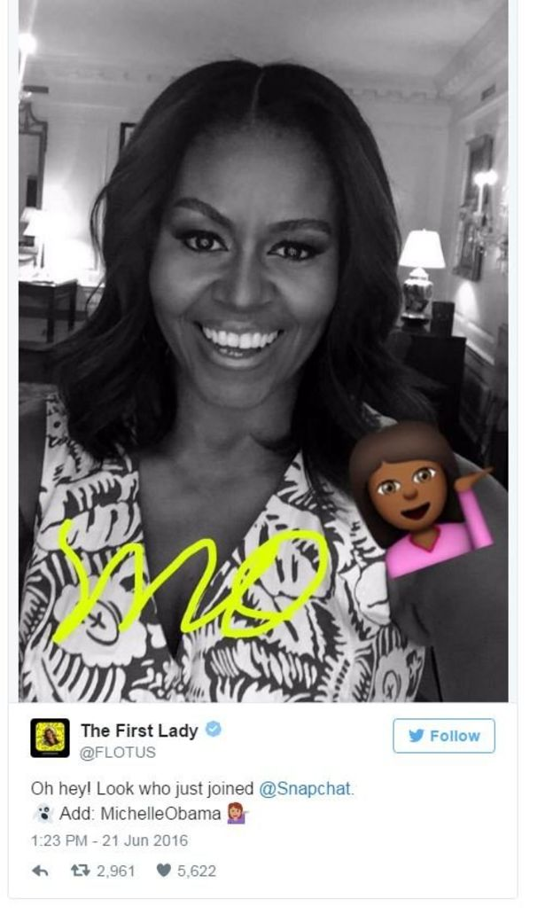 First Lady Michelle Obama debuted her Snapchat account ahead of a trip to Liberia, Morocco and Spain to promote girls' education.