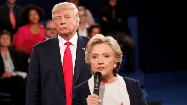 Donald Trump e Hillary Clinton em debate
