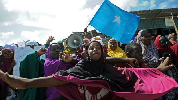 Demonstrators attend a protest against Al shabab insurgents outside Lido beach in the Somali capital Mogadishu