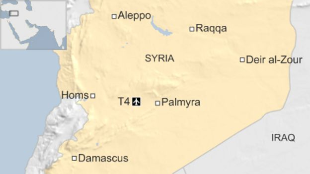Map showing location of T4 base in Syria