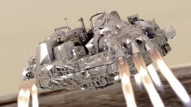 Sonda espacial Schiaparelli con los cohetes de desaceleración encendidos.