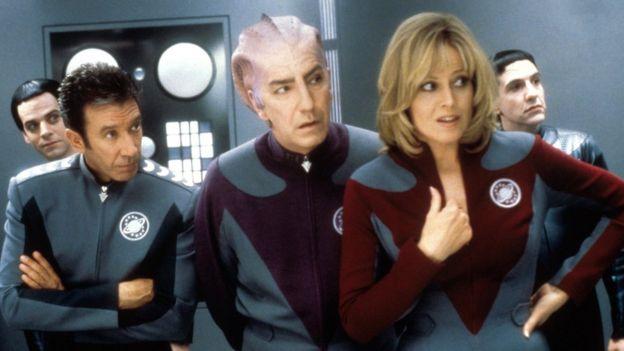 Tim Allen, Alan Rickman, Sigourney Weaver and Patrick Breen in galaxy Quest, 1999