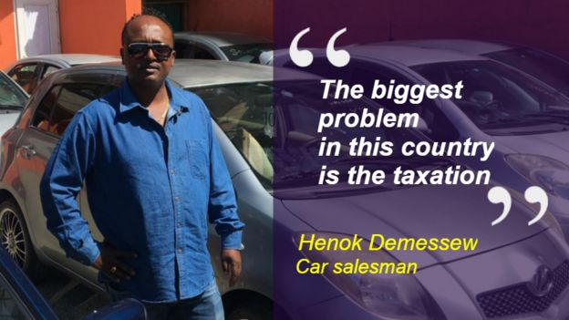 Henok Demessew at his car sales business in Addis Ababa, Ethiopia. Quote: