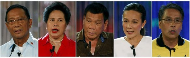Philippine presidential candidates (left to right) Vice-President Jejomar Binay, Senator Miriam Santiago, Davao city mayor Rodrigo