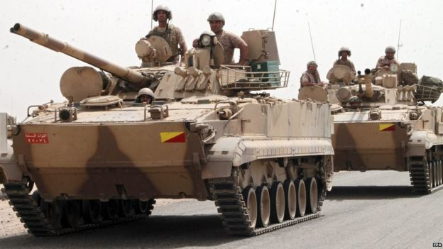 Tanks in Aden, reportedly supplied by the Saudi-led coalition
