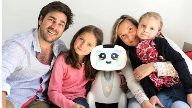 Buddy robot with a family