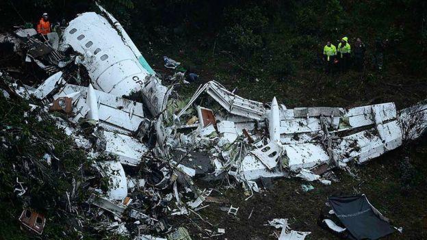 Restos del avión de Lamia en Colombia