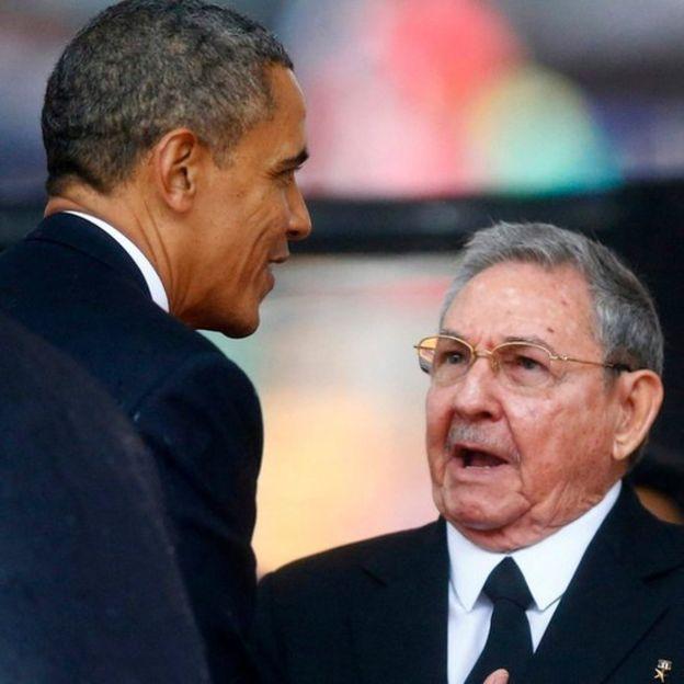 Barck Obama, presidente de EE.UU. y Raúl Castro, presidente de Cuba