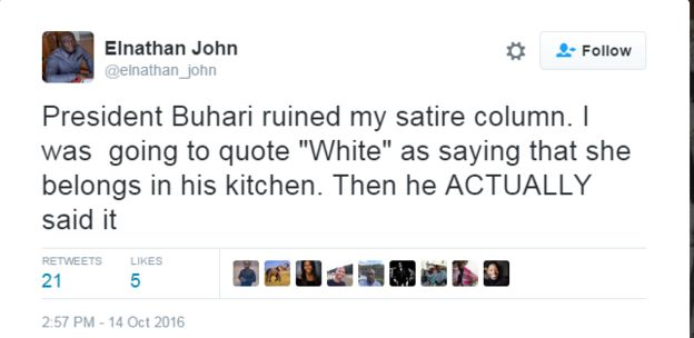 Tweet of prominent writer saying President Buhari ruined by satire column.