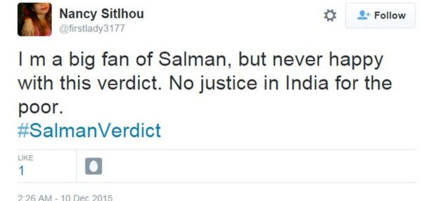 I m a big fan of Salman, but never happy with this verdict. No justice in India for the poor.