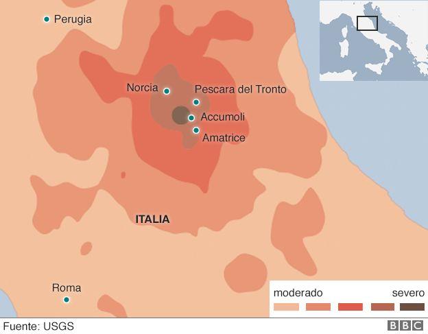 Mapa con la ubicación del terremoto del 24 de agosto de 2016 en italia