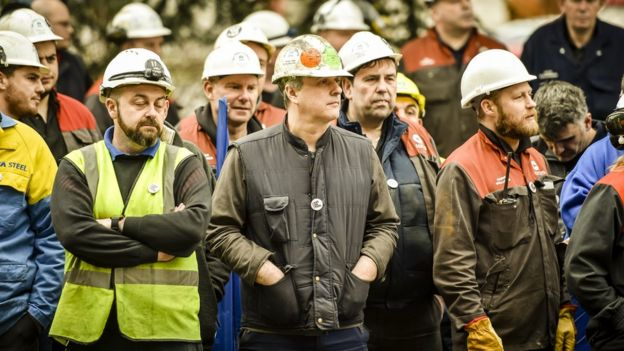 Tata steel workers in Port Talbot