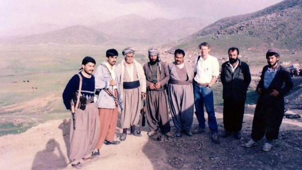Jim Muir with Kurdish fighters, 1991