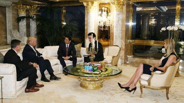 Donald Trump y Shinzo Abe en Nueva York