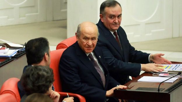Devlet Bahceli, the leader of opposition Nationalist Movement Party, attends the parliamentary session for the debates on a new draft constitution at the Turkish Grand National Assembly