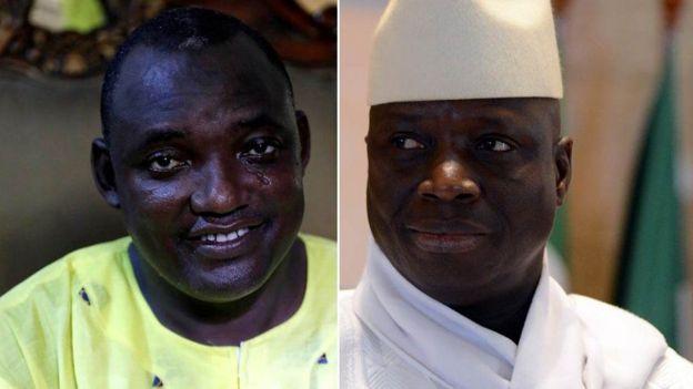 Adama Barrow na rais Jammeh kulia