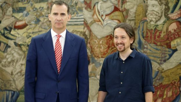 Spanish King Felipe VI with Pablo Iglesias, Podemos Party leader