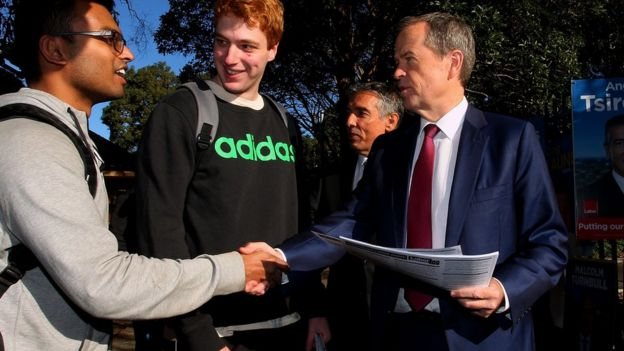 Opposition leader Bill Shorten shakes hands with a voter