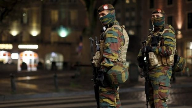 Soldiers patrol Brussels, which is currently on its highest security alert level