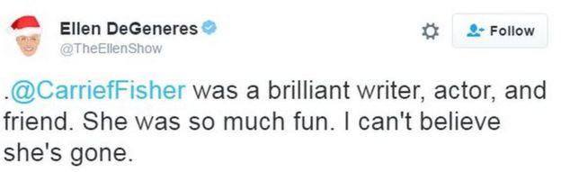 Ellen DeGeneres' tweet reads:
