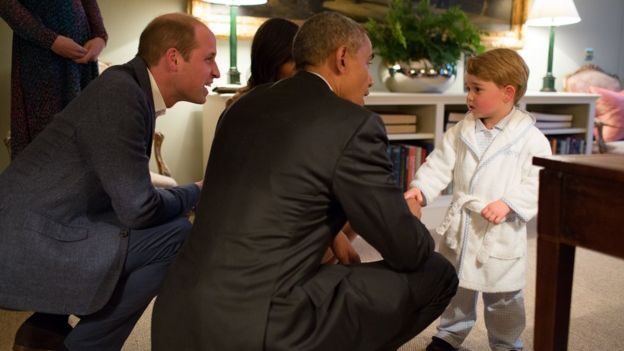 President Obama meets Britain's Prince George
