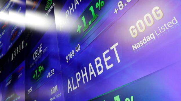 Acompanhamento das ações da Alphabet na Nasdaq, em Nova York