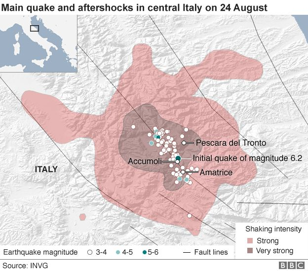 Map showing the earthquake and its aftershocks in central Italy - 24 August 2016