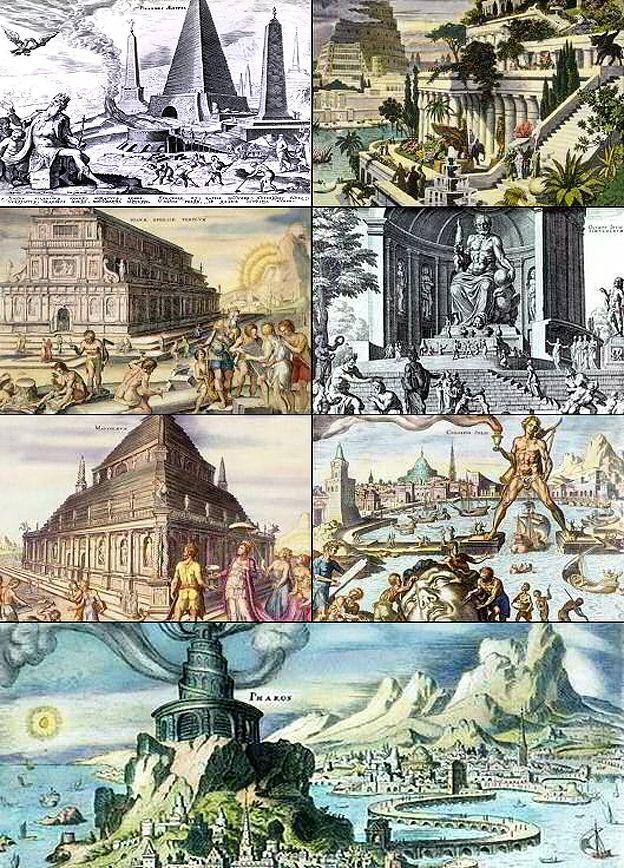 Las siete maravillas del mundo antiguo, representadas por el artista holandés del siglo XVI Maarten van Heemskerck.