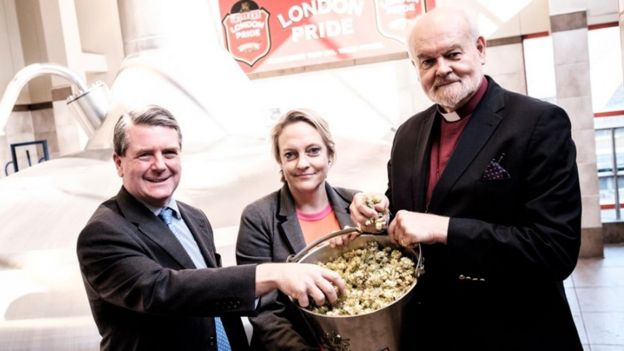 Bishop of London blessing the St Nick's ale