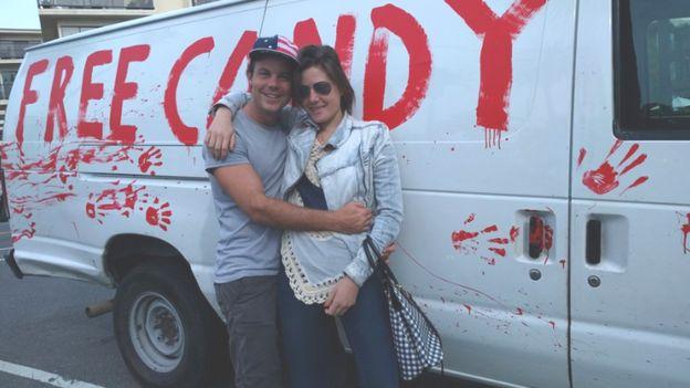 White Free Candy Van