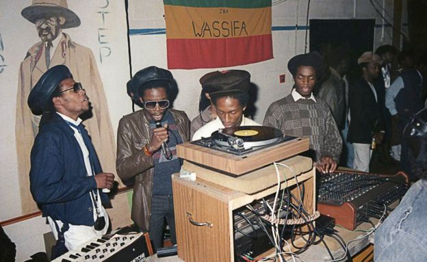 Wassifa sound crew, Handsworth Leisure Centre, Birmingham, circa 1983