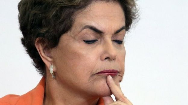 Brazil's President Dilma Rousseff pauses during a ceremony launching an agricultural plan that allocates billions of dollars to farmers at Planalto presidential palace in Brasilia, Brazil, Wednesday, May 4, 2016