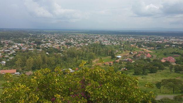 Landscape of Rwenzori region in western Uganda.