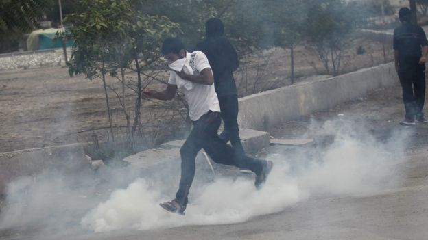 Bahraini protesters clash with police after the execution of a leading Shia cleric