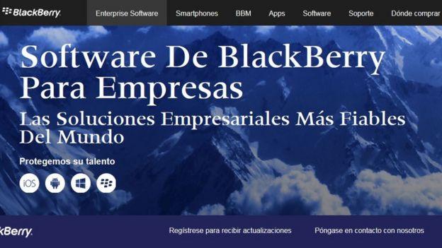 Página web de Blackberry en español