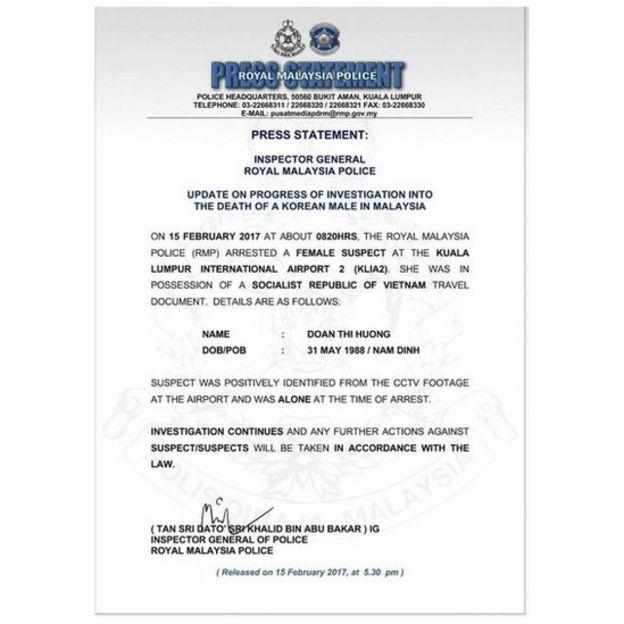 Thông cáo của cảnh sát Malaysia