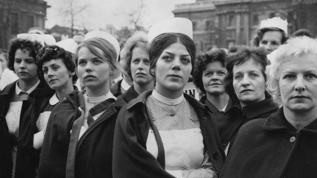 Nurses protesting in 1962