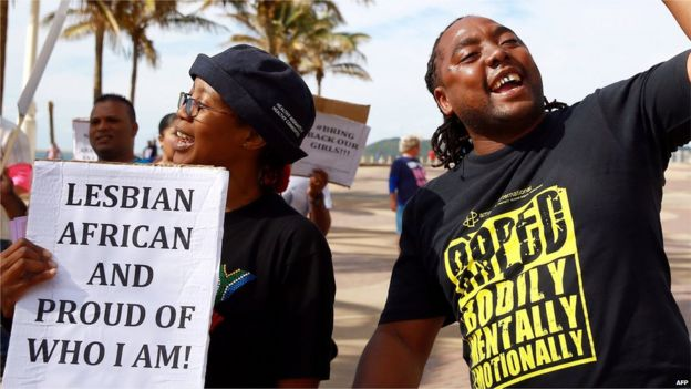 Prosters at a gay-rights march in Durban, South Africa, 2014