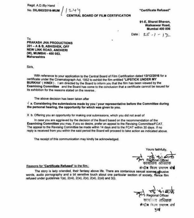 Censor board letter