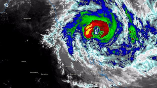 A satellite image of Cyclone Debbie